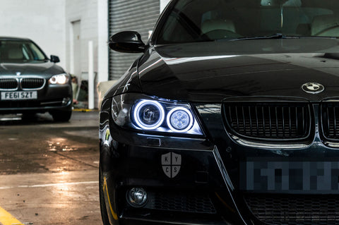 Options selected for the headlights shown above; KYCS Exx Angel Eyes (White) • Classic Blackout • Upgraded High Beam (High Beam LED Unit - Array Style) • New Headlight Lenses • LED Indicators • Satin Black Corner Markers