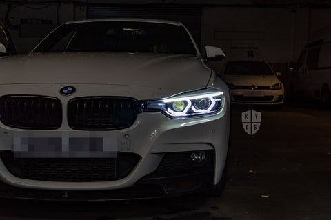 "Select the following options to get the same headlights pictured above: BavGruppe Design Vision Angel Eyes (White) | Modern Blackout Paintwork | Bi-LED 2.5"" Projector With LED Bulb 