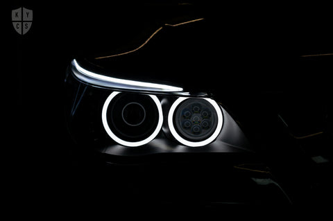 Custom Headlights For 5 Series - E60 E61 LCI (Halogen) - KYCS Exx/BavGruppe Design Full Circle Angel Eyes