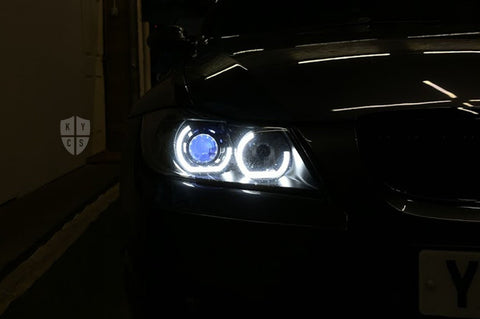 "Headlight options on the above vehicle: KYCS (white) angel eyes | Modern blackout | Bi-LED 2.5"" projector with LED bulb 