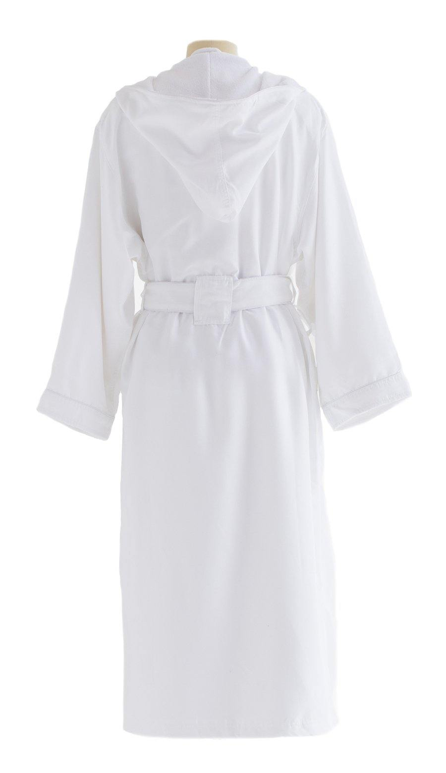 Microfiber Plush Robe With A Hood | Style: MPRH300 Back White