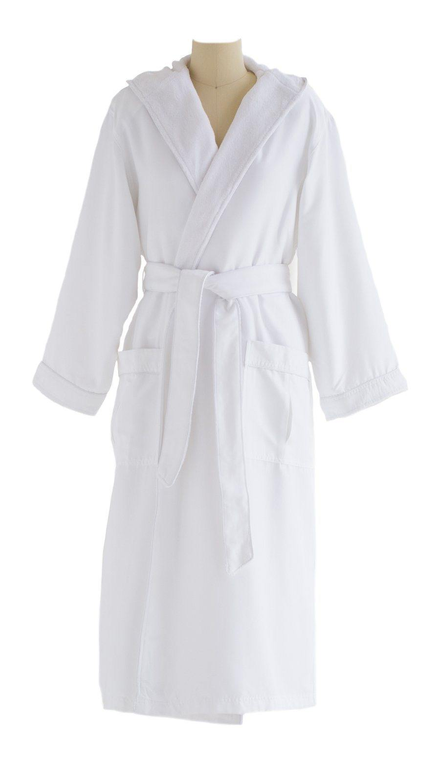 Microfiber Plush Robe With A Hood | Style: MPRH300 Front White