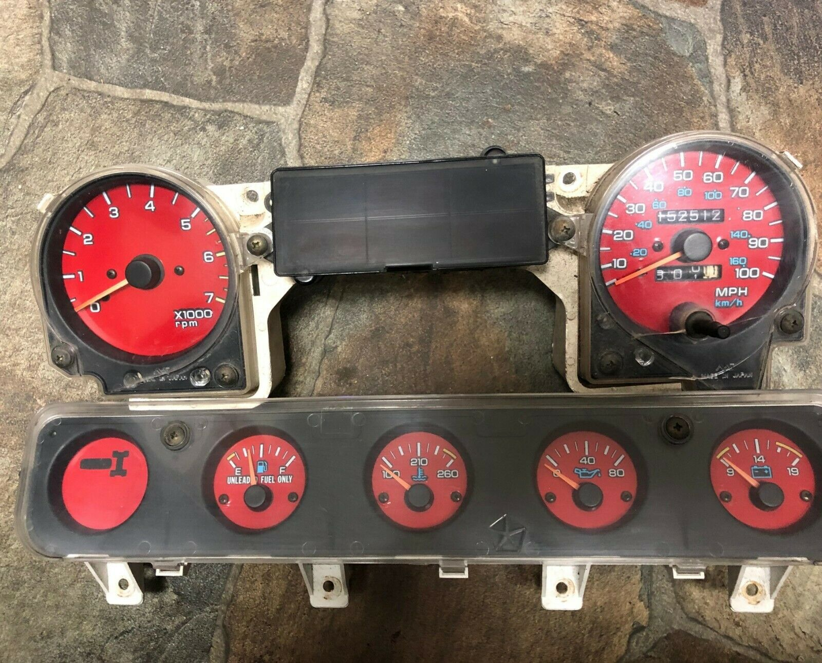 92-95 Jeep Wrangler YJ Speedo and Gas, oil, and Batt Instrument Cluster OEM 152k