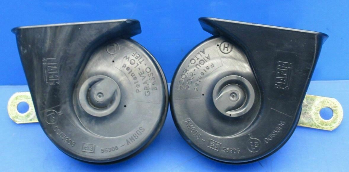 2002-2006 MINI COOPER ORIGINAL GENUINE HORN HORNS PAIR HIGH & LOW TONE FIAMM