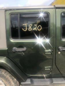 08-16 JEEP WRANGLER REAR PASSENGER DOOR w Glass PANEL ASSEMBLY OEM GREEN