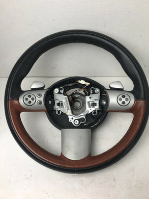 02-06 mini cooper R53 R50 R52 sport 3 spoke steering wheel W/Control Buttons TAN