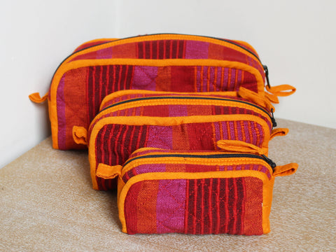 Handwoven washbags, set of three - 4 colours