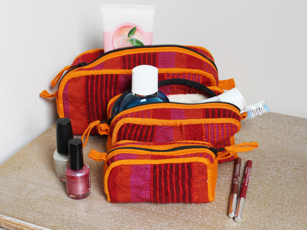Barefoot handwoven washbags, set of three - 4 colours