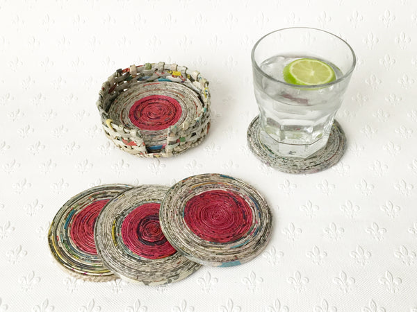 Newspaper coasters - set of 6 with holder, 8 colour options