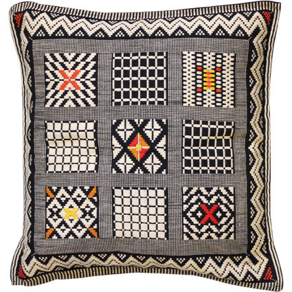 Cushion cover - 9 squares, zigzag border, red/yellow/orange