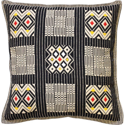 Handwoven cushion cover; Dumbara - 9 squares, red-yellow-white