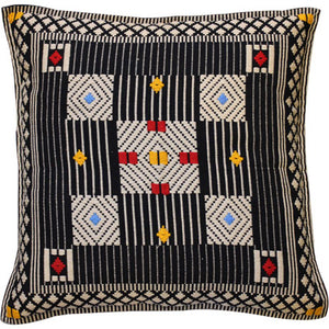 Cushion cover - 5 central squares, red/yellow/blue; trellis border