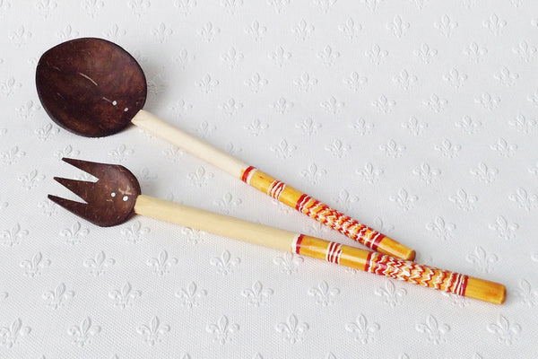 Coconut shell salad servers - large