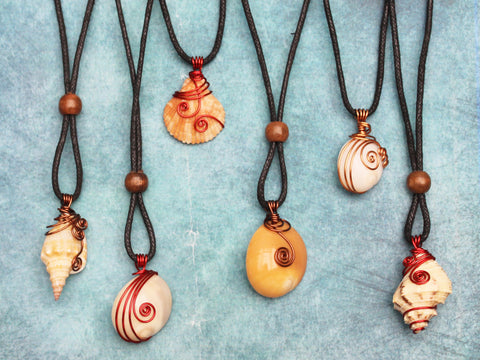 Seashell pendants; wire-wrapped - 9 designs