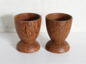 Coconut wood egg cups - pair