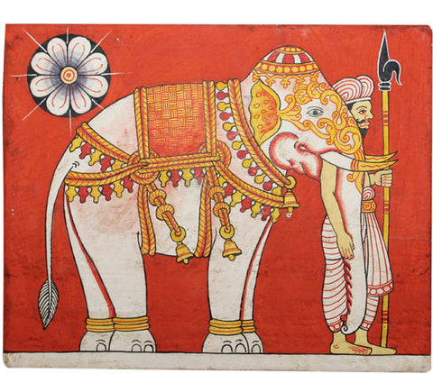Paintings - ceremonial elephants on wooden panel, with four variations of background colour: orange, brown, red and dark blue
