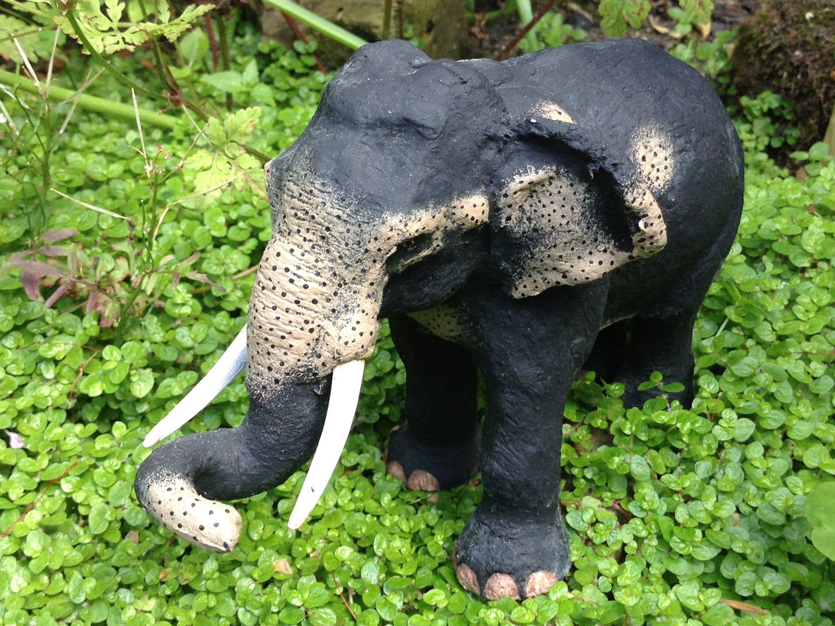 Elephant figurine made from elephant dung paper pulp