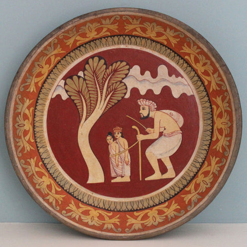 Painted wooden platter - extra large: scene from the Jataka