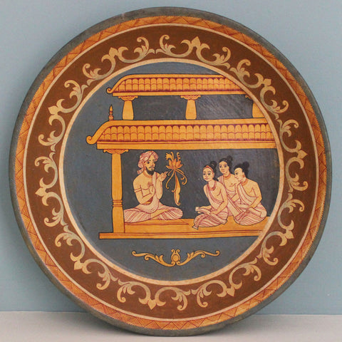 Painted wooden platter - extra large: Buddhist temple scene