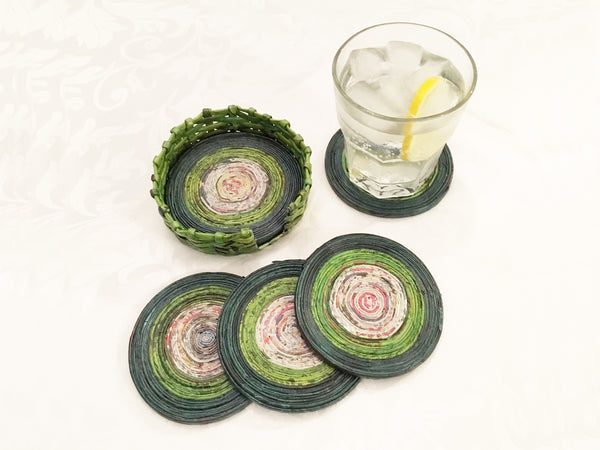 Newspaper coasters - set of 6 with holder, 7 colour options