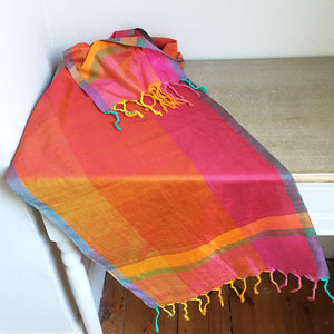 Barefoot silk and cotton scarf with tassels - 6 designs