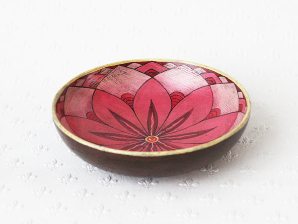 Painted wooden plate - small; pink lotus mandala