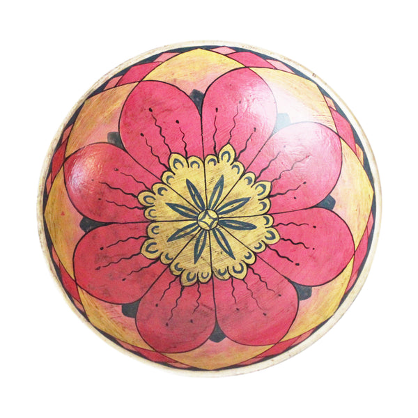 Painted wooden plate - small; pink and yellow mandala