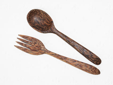 Coconut wood spoon and fork set