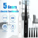 Powerful Ultrasonic Sonic Electric Toothbrush w/ 3 Heads