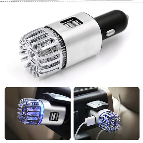 2 in 1 Car Dual USB Fresh Air Ionic Purifier
