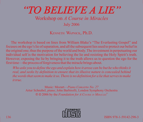 """To Believe a Lie"" [CD]"