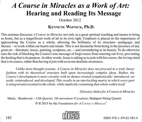 A Course in Miracles as a Work of Art: Hearing and Reading Its Message [CD]