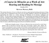 """A Course in Miracles"" as a Work of Art: Hearing and Reading Its Message [MP3]"