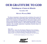 Our Gratitude to God [MP3]