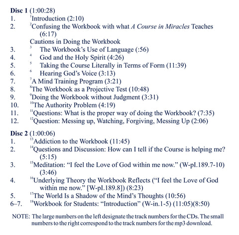 "The Workbook of ""A Course in Miracles"": Its Place in the Curriculum - Theory and Practice [CD]"