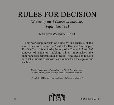 Rules for Decision [CD]