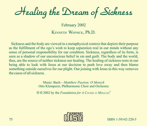 Healing the Dream of Sickness [CD]
