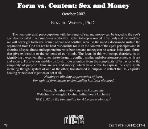 Form versus Content: Sex and Money [CD]