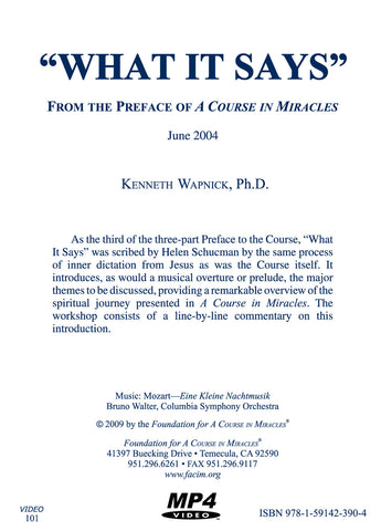 """What It Says"": From the Preface of A Course in Miracles [MP4]"