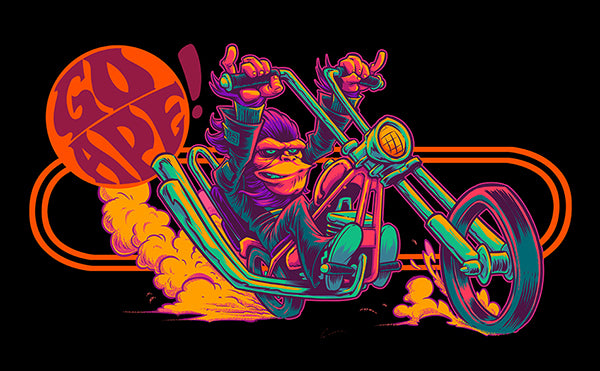 Go Ape! Planet of the Apes T-shirt Illustration Progress Shots