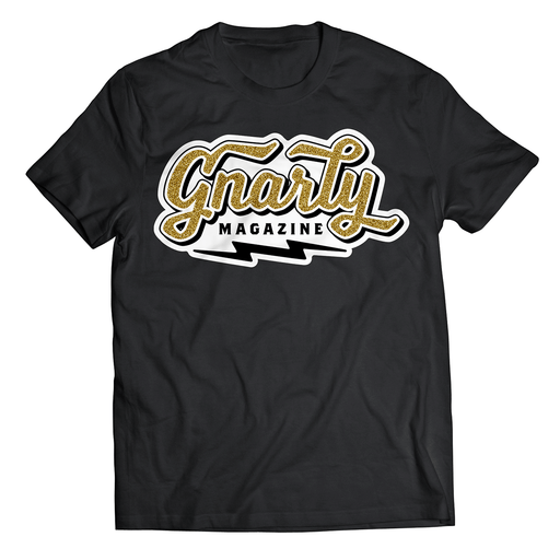 Gnarly Magazine metal flake logo t-shirt