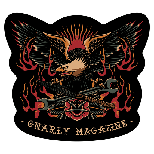 Gnarly Magazine eagle sticker American Traditional tattoo flash