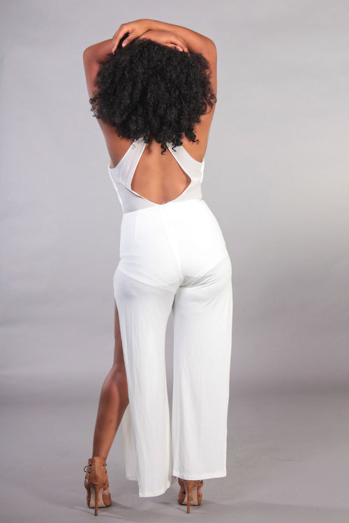 Crossover Side Slit Halter Jumpsuit