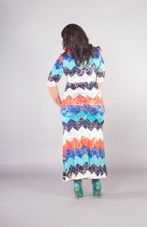 Colorblock Zig Zag Maxi Dress
