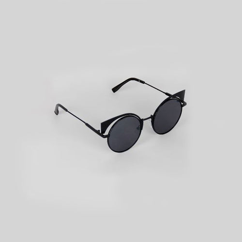 Metallic Cat Eye Round Sunglasses
