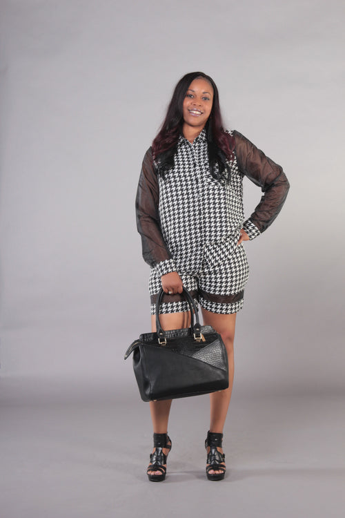 Organza Houndstooth Short Set
