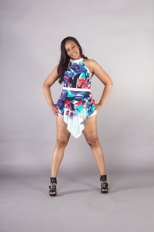 Abstract Flower Romper