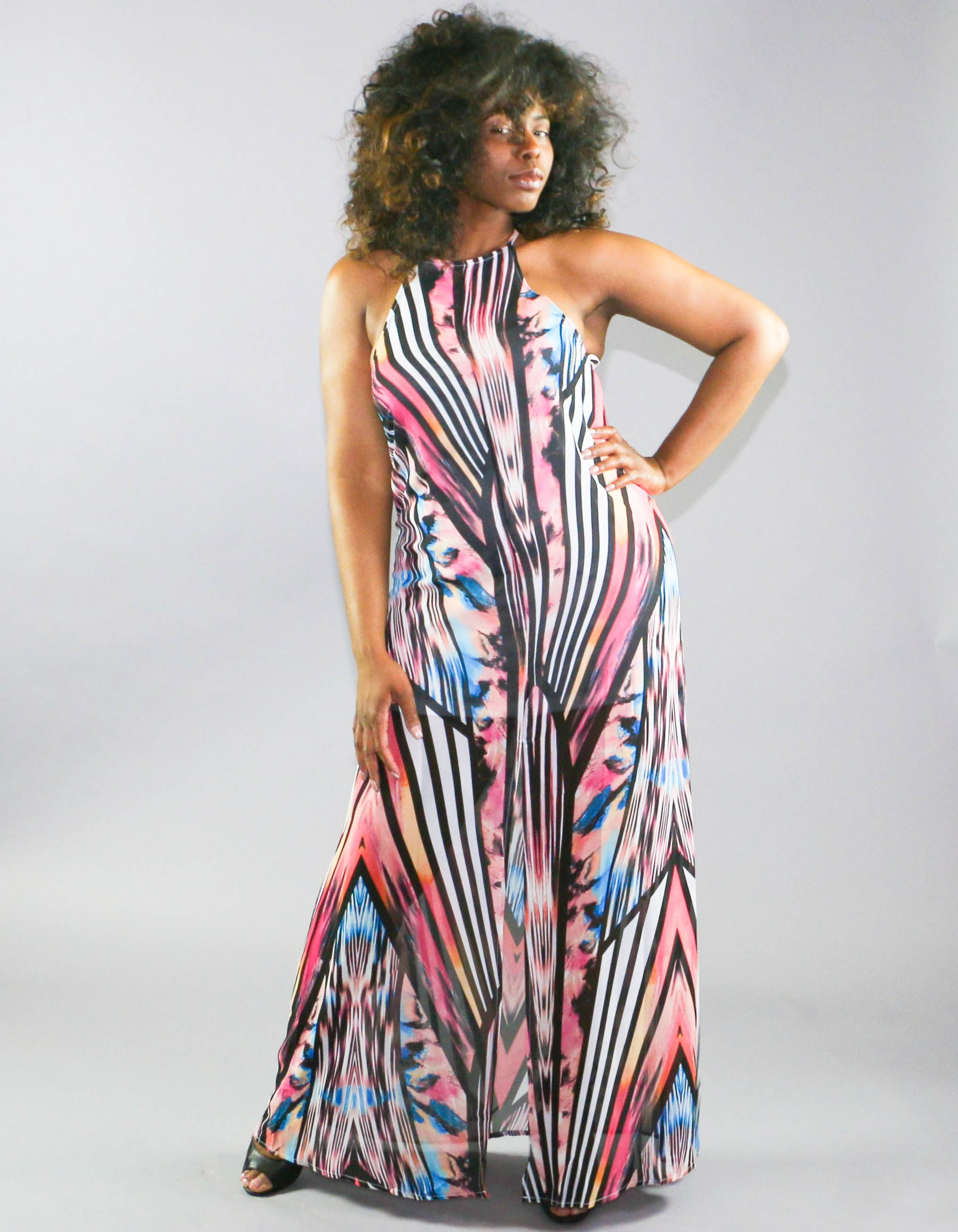 Abstract Halter Maxi Dress