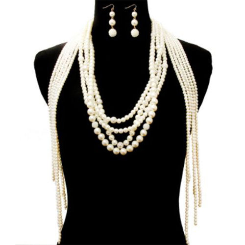 Long Pearl Drop Necklace Set