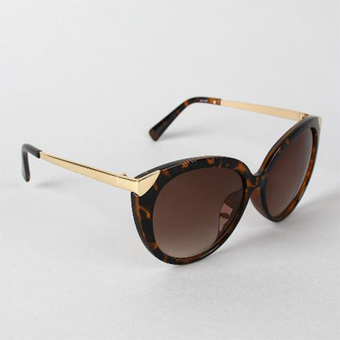 Metallic Frame Cat Eye Sunglasses